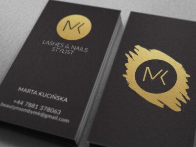 wizytówki eleganckie złocone czarne